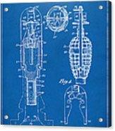 1921 Explosive Missle Patent Minimal Blueprint Acrylic Print by Nikki Marie Smith