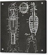 1921 Explosive Missle Patent Minimal Gray Acrylic Print