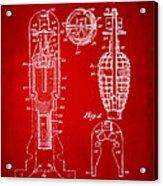1921 Explosive Missle Patent Minimal Red Acrylic Print