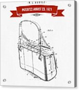 1921 Trout Basket Patent Drawing - Red Acrylic Print