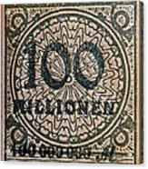 1923 100 Million Mark German Stamp Acrylic Print