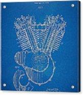 1923 Harley Davidson Engine Patent Artwork - Blueprint Acrylic Print by Nikki Smith