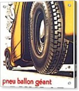1924 - Dunlop Tires French Advertisement Poster - Color Acrylic Print
