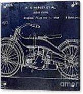 1924 Harley Davidson Motorcycle Patent  Acrylic Print