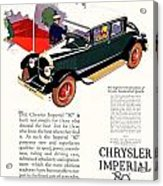 1926 - Chrysler Imperial Convertible Model 80 Automobile Advertisement - Color Acrylic Print