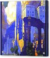 1926 - New York Central Railroad - Chicago Travel Poster - Color Acrylic Print