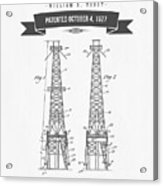 1927 Oil Well Rig Patent Drawing - Retro Gray Acrylic Print