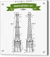 1927 Oil Well Rig Patent Drawing - Retro Green Acrylic Print