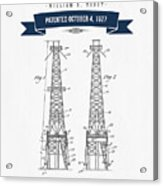 1927 Oil Well Rig Patent Drawing - Retro Navy Blue Acrylic Print