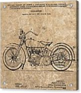 1928 Harley Davidson Motorcyle Patent Illustration Acrylic Print