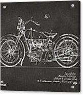 1928 Harley Motorcycle Patent Artwork - Gray Acrylic Print by Nikki Marie Smith