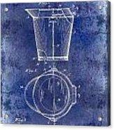 1928 Milk Pail Patent Drawing Blue Acrylic Print