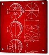 1929 Basketball Patent Artwork - Red Acrylic Print