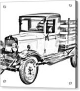 1929 Chevy Truck 1 Ton Stake Body Drawing Acrylic Print