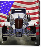 1929 Cord 6-29 Cabriolet Antique Car With American Flag Acrylic Print