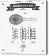 1929 Tennis Racket Patent Drawing - Retro Gray Acrylic Print