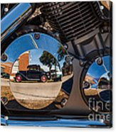 1930 Ford Reflected In 2005 Honda Vtx Acrylic Print