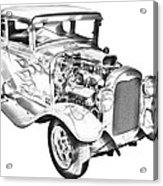 1930 Model A Custom Hot Rod Illustration Acrylic Print