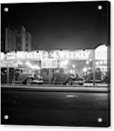 1930s New And Used Car Lot At Night Acrylic Print