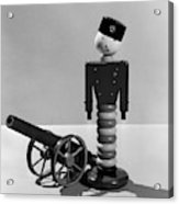 1930s Wooden Toy Soldier Next To Cannon Acrylic Print