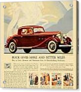 1933 - Buick Coupe Advertisement - Color Acrylic Print