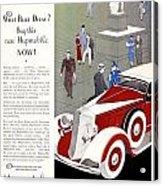 1933 - Hupmobile Sedan Automobile Advertisement - Color Acrylic Print