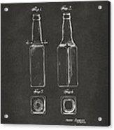 1934 Beer Bottle Patent Artwork - Gray Acrylic Print