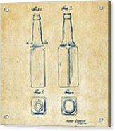 1934 Beer Bottle Patent Artwork - Vintage Acrylic Print