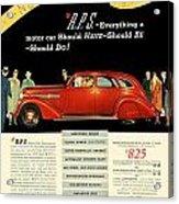 1935 - Nash Aeroform Automobile Advertisement - Color Acrylic Print