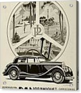 1935 - Panhard Panoramique French Automobile Advertisement Acrylic Print