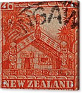 1935 Carved Maori House New Zealand Stamp Acrylic Print