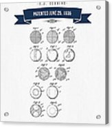 1935 India Rubber Ball Patent Drawing - Retro Navy Blue Acrylic Print