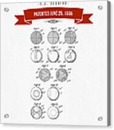 1935 India Rubber Ball Patent Drawing - Retro Red Acrylic Print