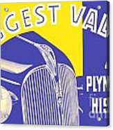 1937 - Plymouth Automobile Advertisement - Color Acrylic Print