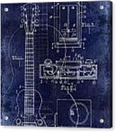 1937 Gibson Electric Guitar Patent Drawing Blue Acrylic Print