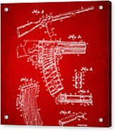 1937 Police Remington Model 8 Magazine Patent Artwork - Red Acrylic Print
