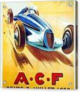 1938 - Automobile Club De France Poster - Reims - George Ham - Color Acrylic Print