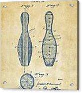 1939 Bowling Pin Patent Artwork - Vintage Acrylic Print