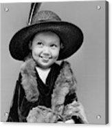 1940s Girl In Oversized Velvet Dress Acrylic Print