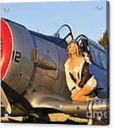 1940s Style Aviator Pin-up Girl Posing Acrylic Print