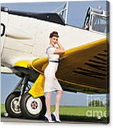 1940s Style Navy Pin-up Girl Leaning Acrylic Print by Christian Kieffer
