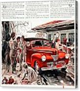 1941 - Ford Super Deluxe Automobile Advertisement - Color Acrylic Print