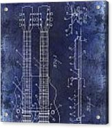 1941 Gibson Electric Guitar Patent Drawing Blue Acrylic Print