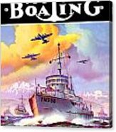 1942 - Motor Boating Magazine Cover - October - Color Acrylic Print