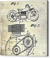 1943 Indian Motorcycle Patent Drawing Acrylic Print