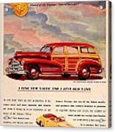 1946 - Pontiac Woodie Station Wagon And Convertible Advertisement - Color Acrylic Print