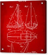 1948 Sailboat Patent Artwork - Red Acrylic Print
