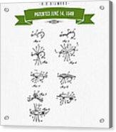1949 Fish Lure Patent Drawing - Retro Green Acrylic Print