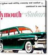 1950 - Plymouth Suburban Station Wagon Automobile Advertisement - Color Acrylic Print
