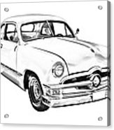 1950  Ford Custom Antique Car Illustration Acrylic Print
